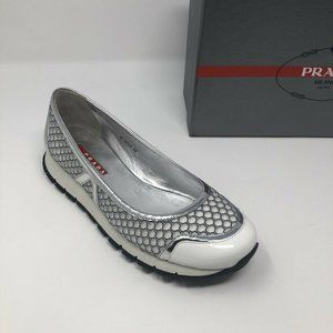 New PRADA White Silver Sneakers Size 8.5